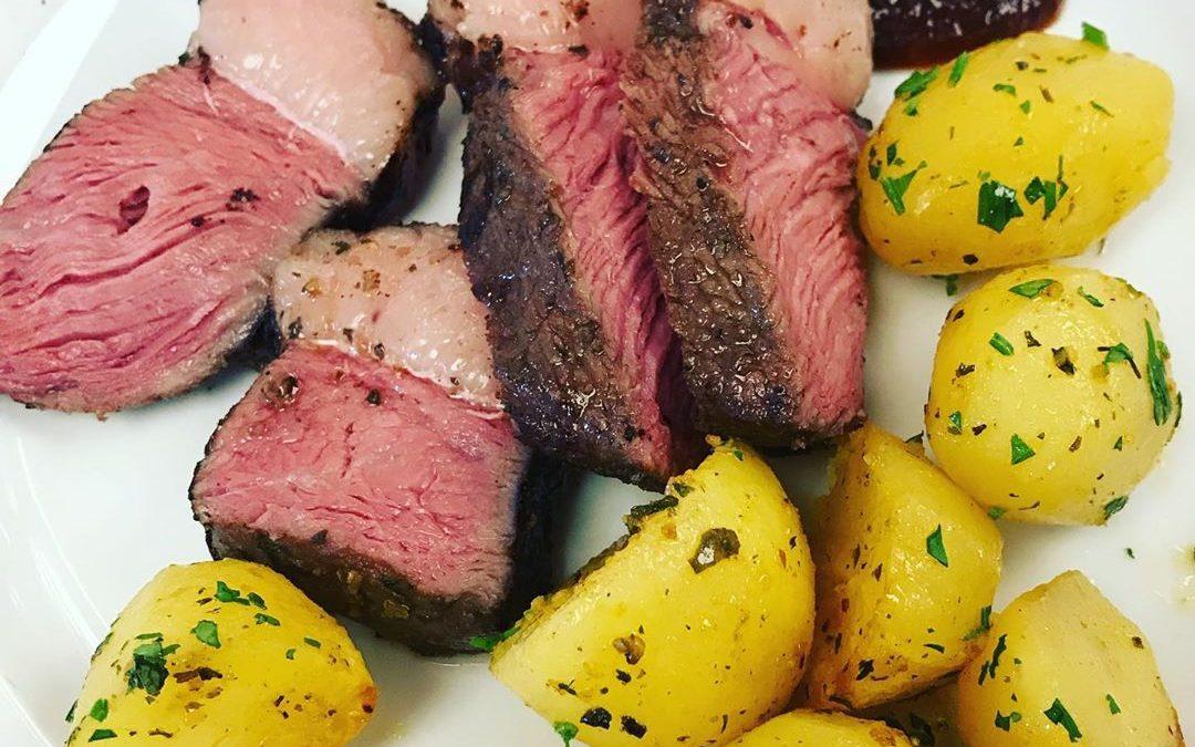 Rindfleisch vom Spieß