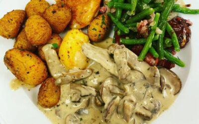 Grillvariation: Bohnen mit Speck und Kartoffeln